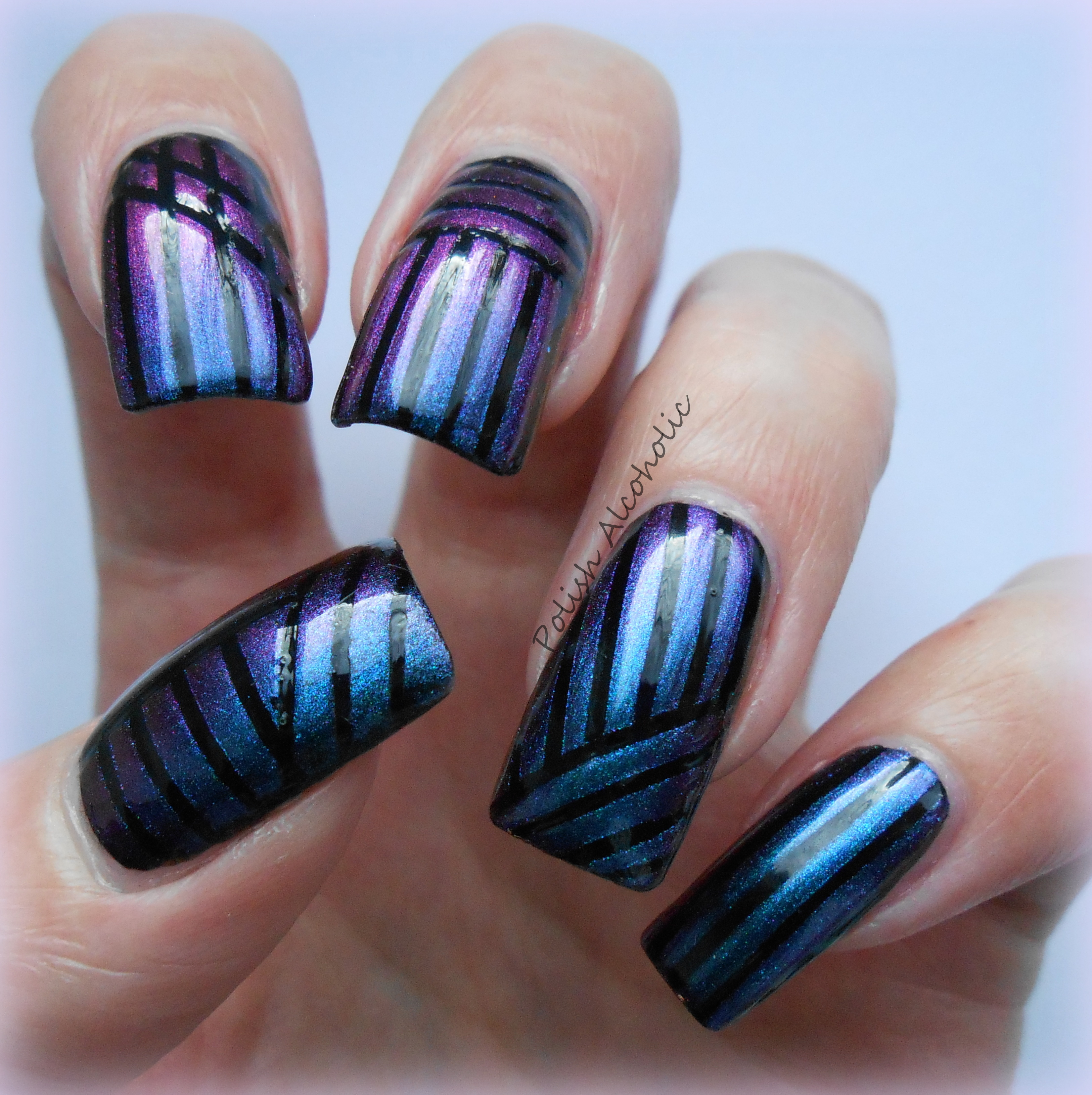 Nail Art Using Striping Tape: Duochrome Striping Tape Mani