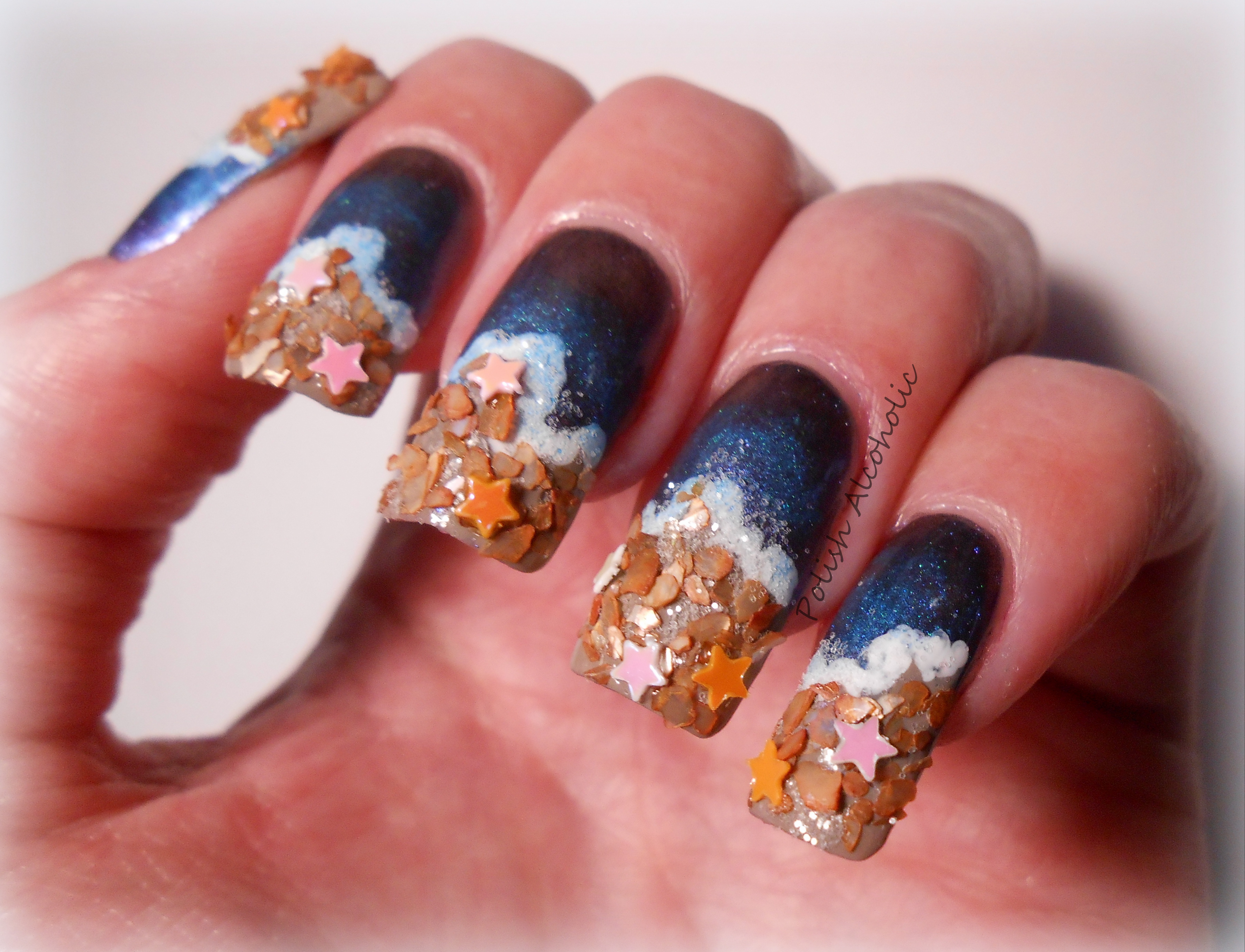 Beach nail art polish alcoholic day 11 pre spring challenge beach prinsesfo Images